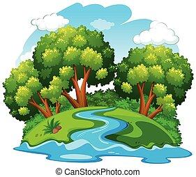 rio, natural, paisagem