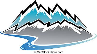 rio, picos, montanhas