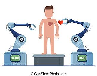 robô, ressuscita, conveyor., man., criação, homem