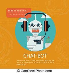 robô, rosto, ou, assistente, conversa, apartamento, caricatura, fones, serviço, conceito, vetorial, chatbot, ícone, estilo, bot, apoio, automático, online, símbolo