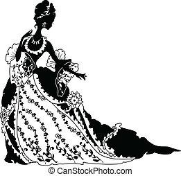 rococo, gráfico, mulher, silueta