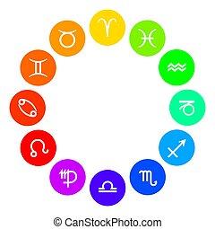 roda, arco-íris colorido, astrológico, sinais, signos