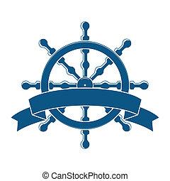 roda, banner., emblem., vetorial, náutico, navio