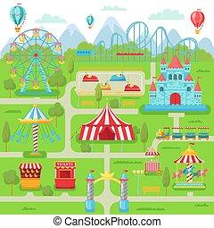 roda, coaster, família, entretenimento, festival, map., parque, ilustração, ferris, vetorial, divertimento, atrações, rolo, carrossel