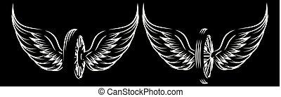 roda, jogo, -, padrões, vetorial, monocromático, asas
