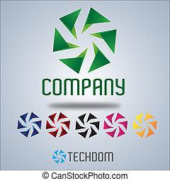 roda, logotipo, companhia, desenho, vento