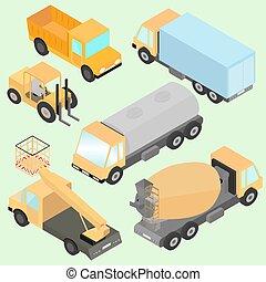 roda, machinery., isometric, jogo, machine., tanque, elevador, caminhões, costas, carregador, rolo, frente, construção, vista., estrada