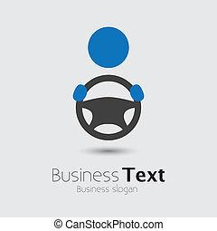 roda, ou, seu, cabbie, car, negócio, espaço, texto, graphic., veículo, motorista, symbol-, mão, vetorial, ilustração, segurando, automóvel, slogan, ícone, guiando, mostra
