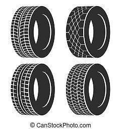 roda, pneu, car, isolado, borracha, automático, ou