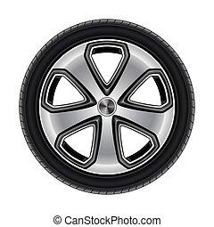 roda, pneu, ou, automóvel, car, isolado, pneumático