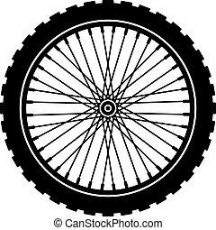 roda, pretas, bicicleta, silueta, vetorial