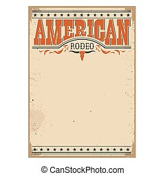 rodeo, papel, texto, textura, americano, antigas, cartaz