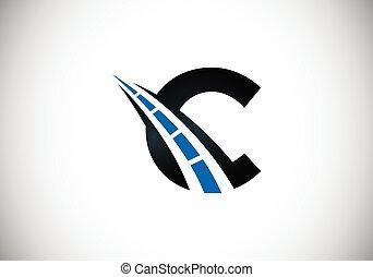 rodovia, desenho, logotipo, letra, criativo, c, estrada, construction., tráfego, theme., sing., transporte, manutenção, conceito
