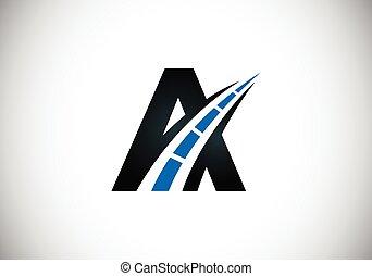 rodovia, desenho, logotipo, letra, criativo, estrada, construction., tráfego, theme., sing., transporte, manutenção, conceito