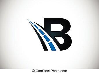 rodovia, desenho, logotipo, letra, criativo, estrada, construction., tráfego, theme., sing., transporte, b, manutenção, conceito