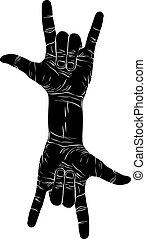 rolo, roc, difícil, sinal, dois, mão, rocha, n, mãos, criativo