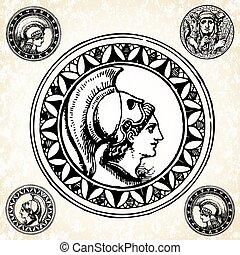romana, vetorial, selos