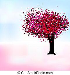 romanticos, eps, árvore, paixão, modelo, 8, card.