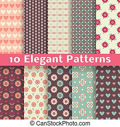 romanticos, padrões, seamless, elegante, vetorial, (tiling)., retro