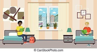 room., macho teen, estudantes, caricatura, dormitório