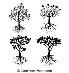 roots., jogo, pretas, árvores