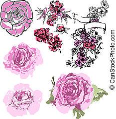 rosa, jogo, desenho