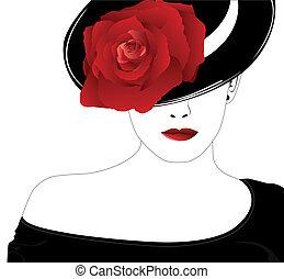 rosa, mulher, chapéu