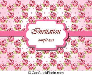 rosas cor-de-rosa, cartão, convite