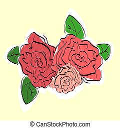 rosas, desenhado, vindima, ilustração, mão