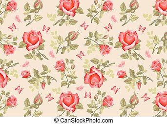 rosas, flor, retro, card-