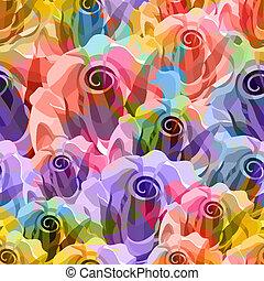 rosas, pattern., vetorial, eps, 10