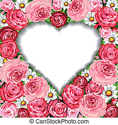 rosas, quadro, fundo, coração