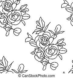 roses., seamless, fundo
