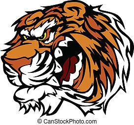 rosnando, tiger, caricatura, mascote