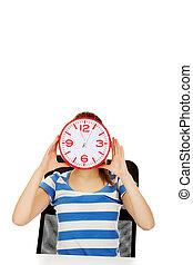 rosto, adolescente, mulher, relógio, cobertura