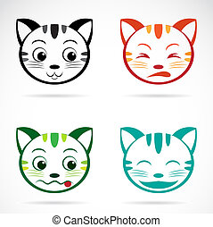 rosto, imagem, vetorial, gato