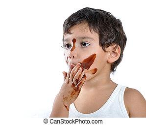 rosto, mãos, seu, criança, chocolate