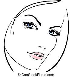 rosto, menina, vetorial, beleza, ícone