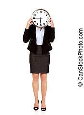 rosto, mulher, relógio, negócio, cobertura