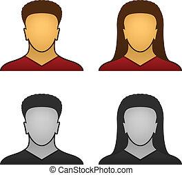 rosto, vetorial, macho, femininas, ícones