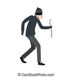 roubar, alavanca, caricatura, apartamento, ficar, pretas, style., roupas, vetorial, ladrão, mão., ilustração