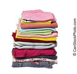 roupa, pilha, camisas