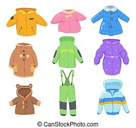 roupas, inverno, crianças, jogo