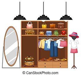 roupas, isolado, armário