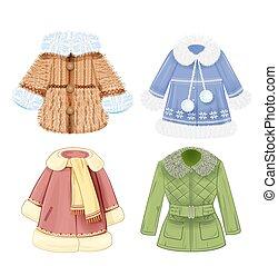 roupas, jogo, inverno, crianças