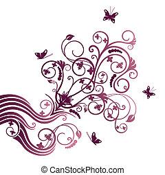 roxo, borboleta, flor, ornate
