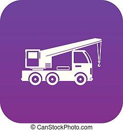 roxo, caminhão, digital, guindaste, montado, ícone