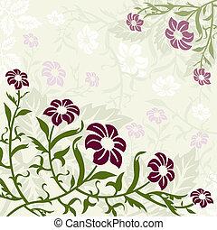roxo, floral, experiência verde
