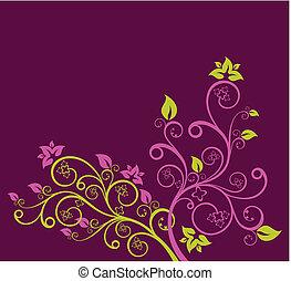 roxo, floral, vetorial, verde, ilustração