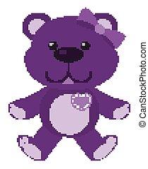roxo, pelúcia, branca, cor, cute, fundo, urso
